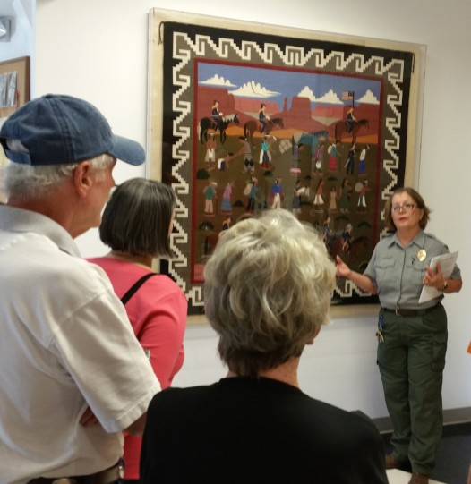 Ranger Grace Roybal discusses symbols in original rug from the Bosque Redondo times