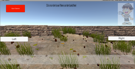 GUI for the Dig Game Scene