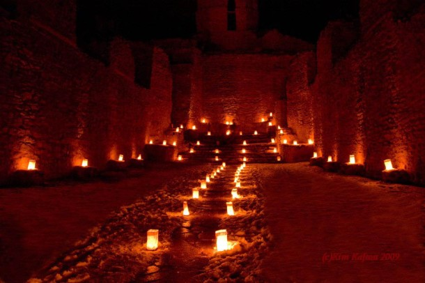 Jemez Church with luminarias. light ruins2